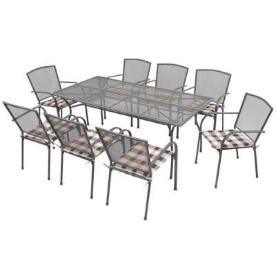 Set mobilier de exterior cu perne, 17 piese, plasă din oțel foto