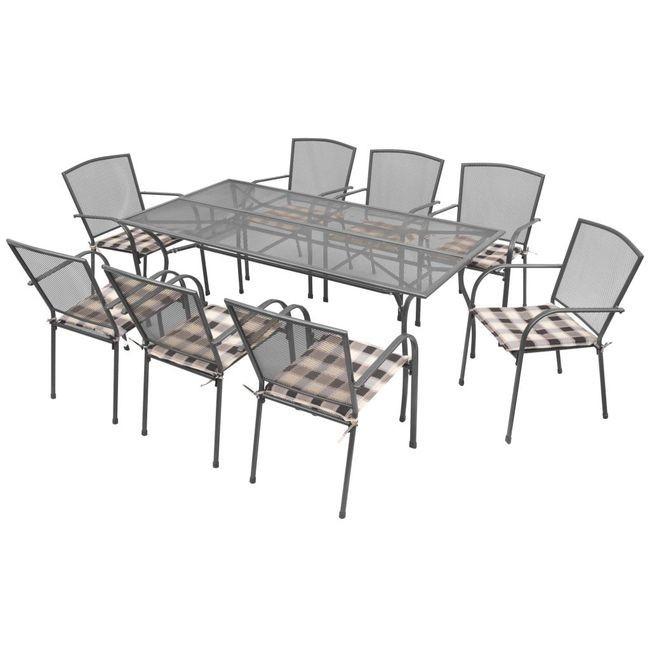 Set mobilier de exterior cu perne, 17 piese, plasă din oțel