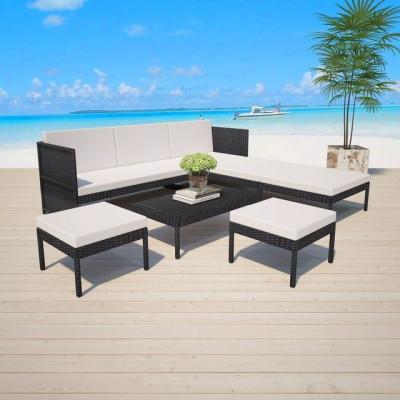 Set mobilier de grădină, 15 piese, poliratan, negru foto