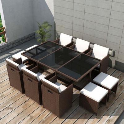 Set mobilier de exterior 27 piese, poliratan, maro foto