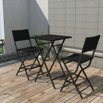 Set mobilier de exterior, 3 piese, poliratan, negru foto