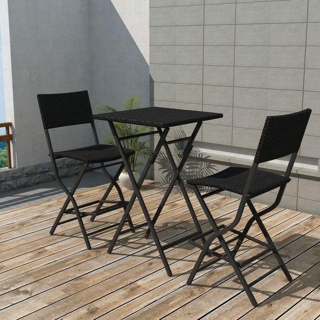 Set mobilier de exterior, 3 piese, poliratan, negru