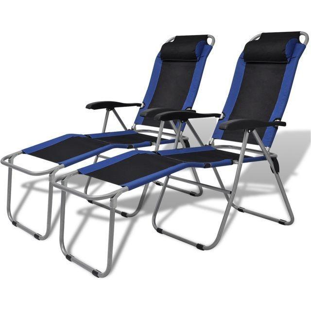 Scaun de camping rabatabil, albastru și negru, 2 buc. foto mare