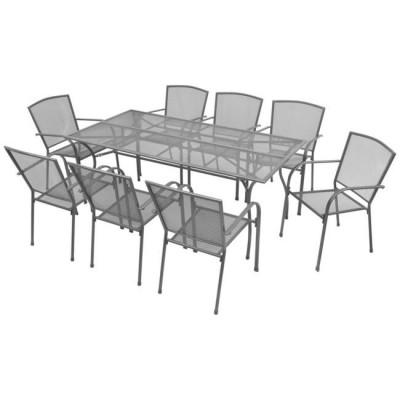 Set mobilier de exterior 9 piese, plasa din o?el foto