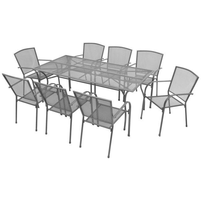 Set mobilier de exterior 9 piese, plasa din o?el foto mare