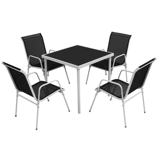 Set mobilier de exterior 5 piese, negru