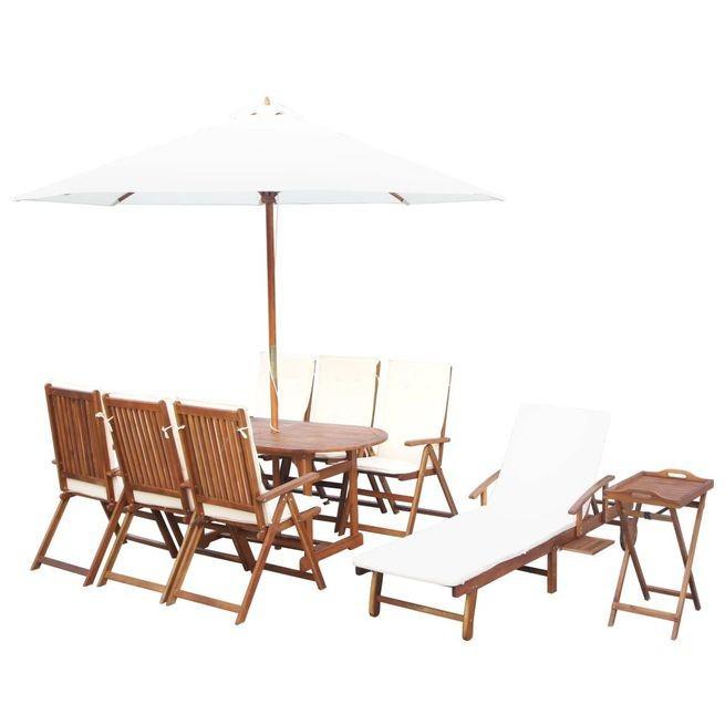 Set mobilier exterior, 17 piese, cu perne, lemn masiv de acacia