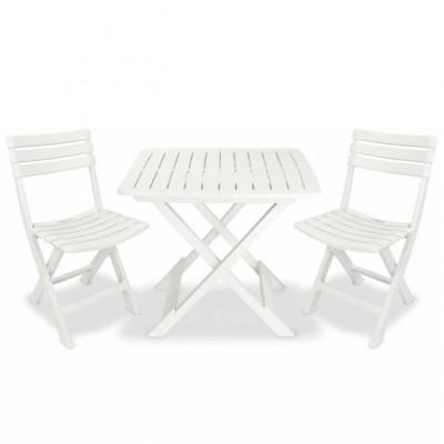 Set mobilier de grădină tip bistro, 3 piese, plastic, alb foto