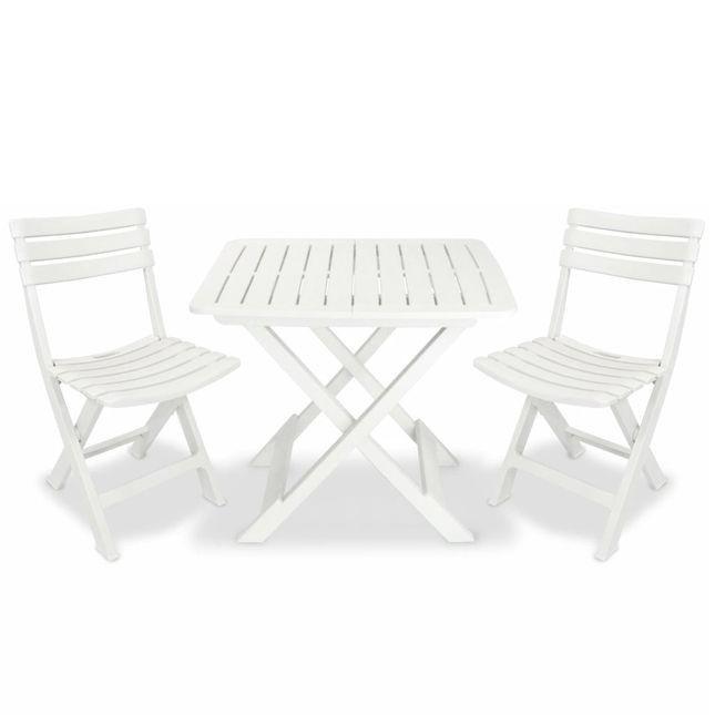 Set mobilier de grădină tip bistro, 3 piese, plastic, alb