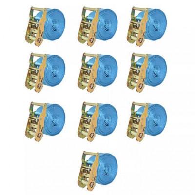 Chingi fixare cu clichet, 10 buc, 2 tone, 6 m x 38 mm, albastru foto