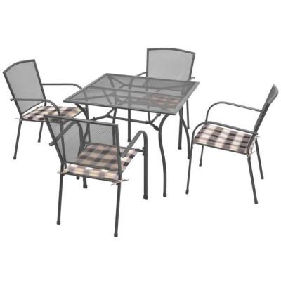 Set mobilier de exterior cu perne, 9 piese, plasa din o?el foto