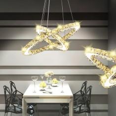 Lustră candelabru din cristal cu inel dublu cu LED-uri