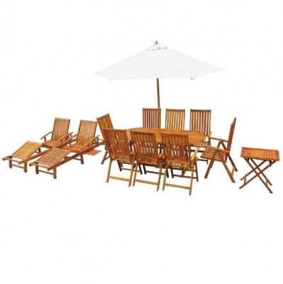 Set mobilier de exterior, 13 piese, lemn masiv de acacia foto