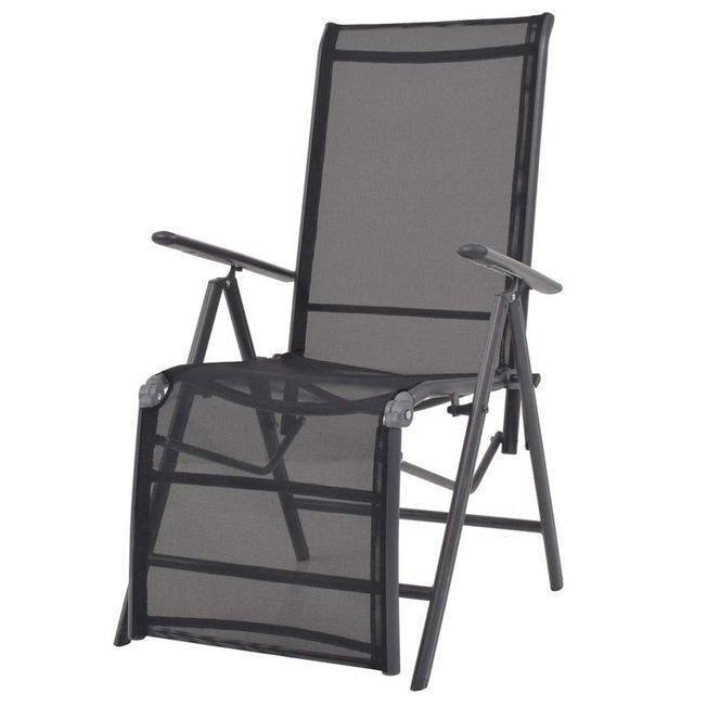 Scaun terasă rabatabil, textilenă, negru, 58,5 x 69 x 110 cm