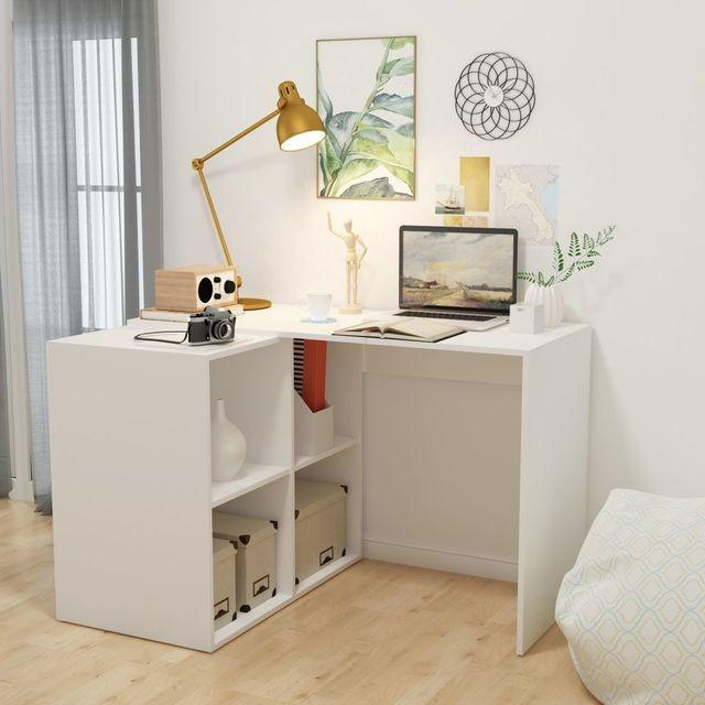 Birou cu raft de cărți 117x92x75,5 cm, alb foto mare