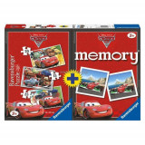 PUZZLE + JOC MEMORY DISNEY CARS, 3 BUC IN CUTIE 15/20/25 PIESE, Ravensburger