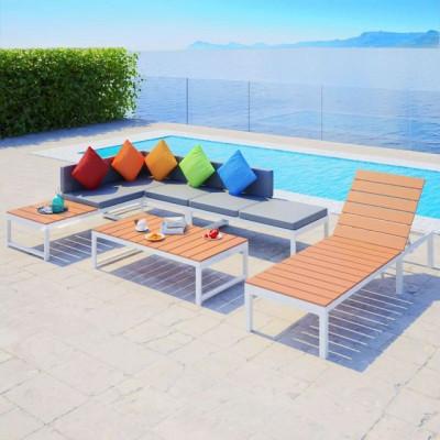 Set grădină canapea de colț și șezlong 20 piese, aluminiu WPC foto
