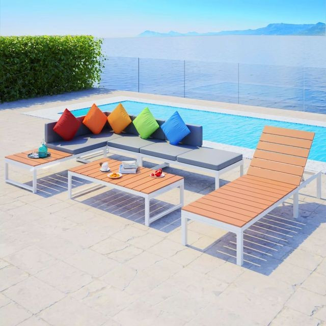 Set grădină canapea de colț și șezlong 20 piese, aluminiu WPC