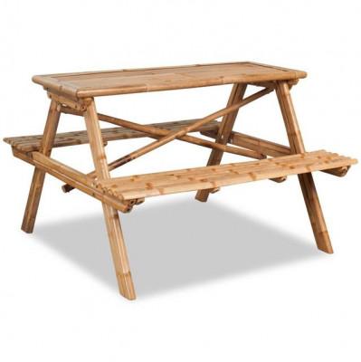 Masă picnic, bambus, 120x120x78 cm foto