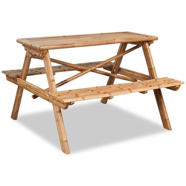 Masă picnic, bambus, 120x120x78 cm foto mare