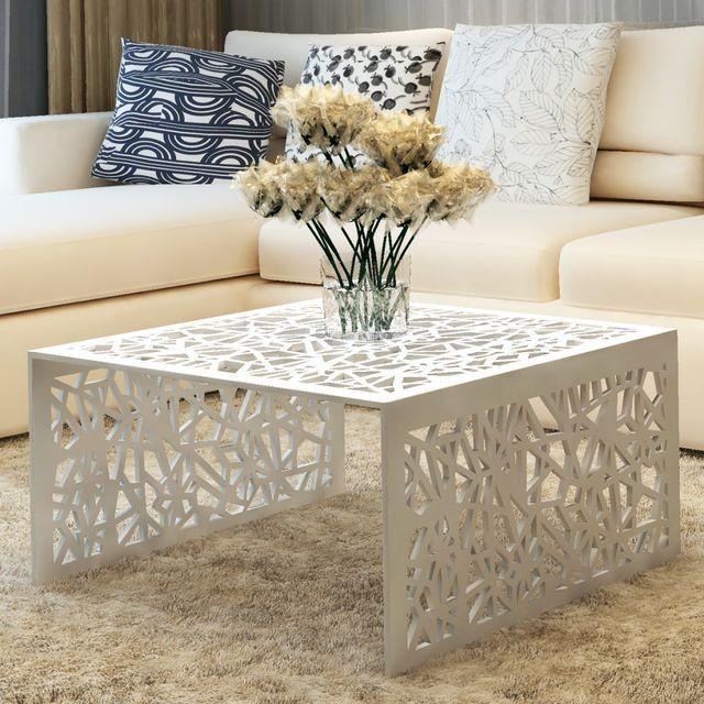 Masa de cafea din aluminiu cu aspect geometric perforat, argintiu
