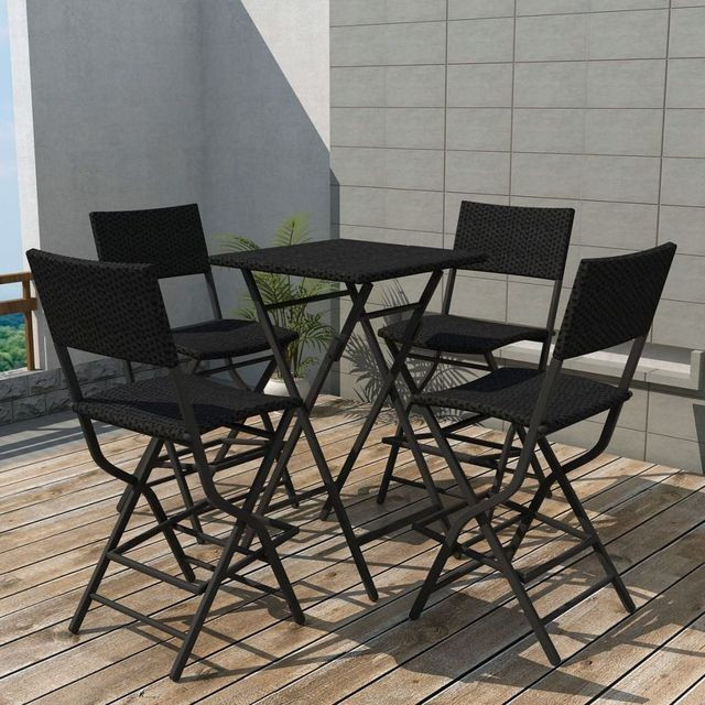 Set mobilier de exterior, 5 piese, poliratan, negru foto mare