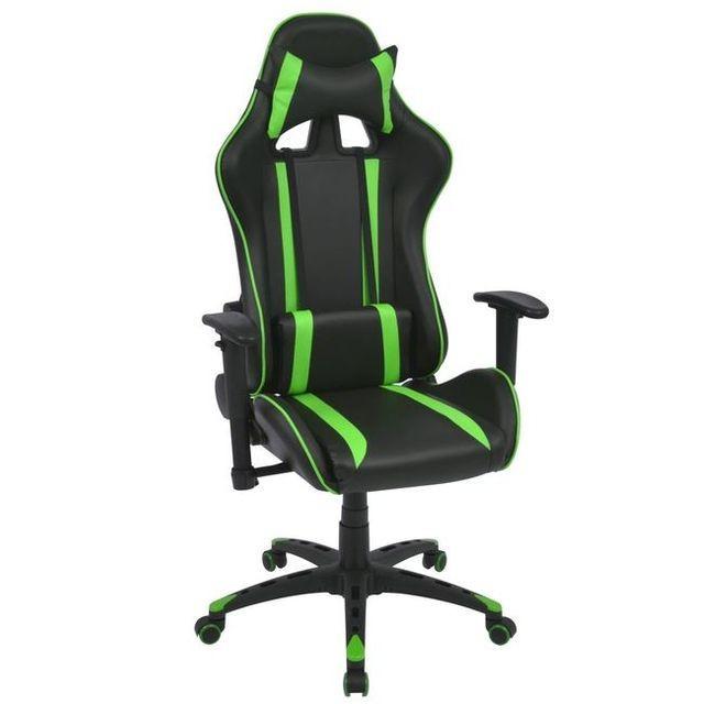 Scaun birou rabatabil, design racing, piele artificială, verde