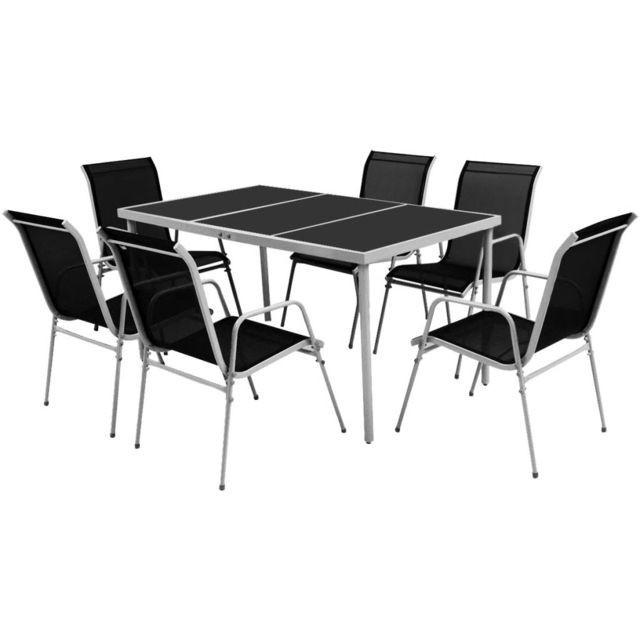 Set mobilier de exterior, 7 piese, negru