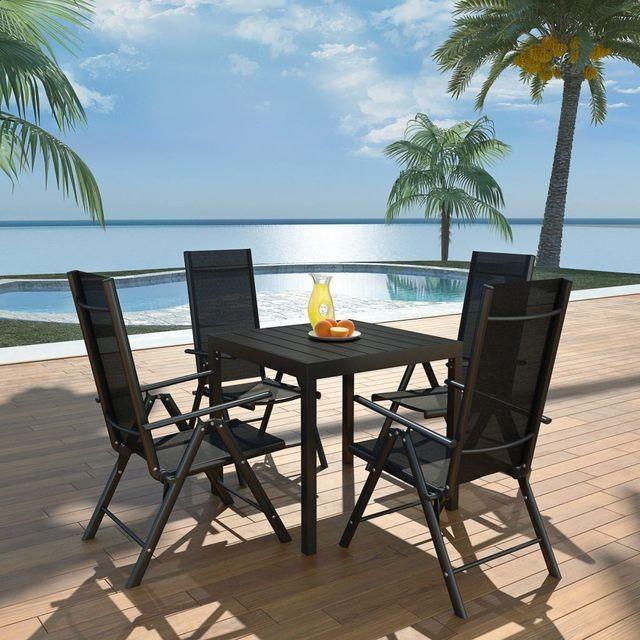 Set mobilier de exterior, 5 piese, aluminiu și WPC foto mare