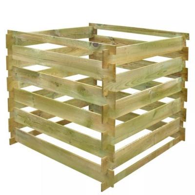 Compostor patrat din lemn cu stinghii 0,54 m? foto