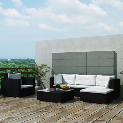 Set mobilier de grădină 17 piese, poliratan, negru foto