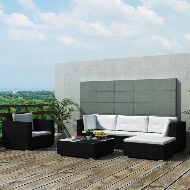 Set mobilier de grădină 17 piese, poliratan, negru foto mare