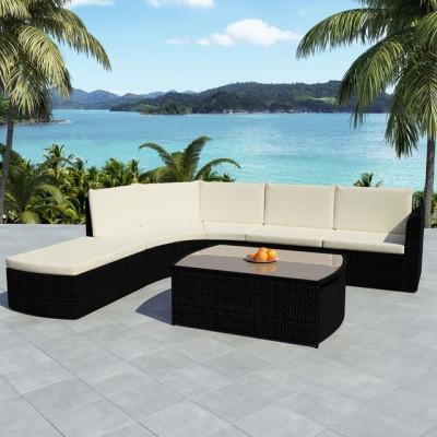 Set mobilier de grădină 15 piese, poliratan, negru foto