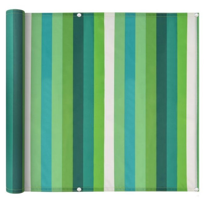 Prelată balcon, material Oxford, 90x400 cm, dungi verzi