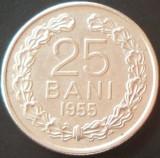 Moneda  25 BANI - RP ROMINA, anul 1955   *cod 845 - FRUMOASA!