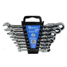 Set chei combinate cu clichet si cap flexibil Geko G10338, 8-22 mm, Cr-V