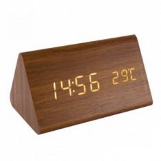 Ceas desteptator cu carcasa lemn, Home OC 05, termometru, ecran led