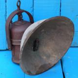 LAMPA VECHE DE MINA / MINER PE CARBID - FIER MASIV CU REFLECTOR IMENS DE ALAMA