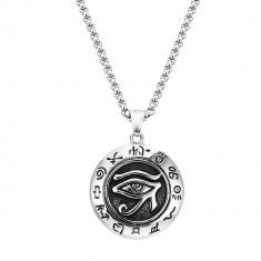 Pandantiv Medalion Lantisor Colier Amuleta Ochiul Lui Ra - Inox + Lant