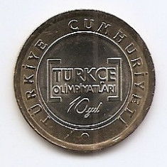 Turcia 1 Lira  2012 - (Turkish Olympics)26.15 mm KM-1288 UNC !!!
