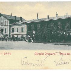 3605 - ORSOVA, Railway Station - old postcard - used - 1902, Circulata, Printata