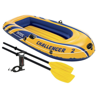 Set barca pneumatica Lumi Challenger 2 pentru 2 persoane + vasle + pompa manuala foto