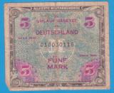 (2) BANCNOTA GERMANIA - 5 MARK 1944, EMISA DE OCUPATIA ALIATA MILITARA