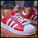 Adidas Originals Superstar Red, 42 2/3, Rosu, Piele naturala