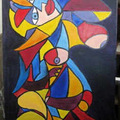 Tablou Uniunea in Tot pictura in stil cubism ulei pe panza 50x80cm