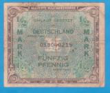 (1) BANCNOTA GERMANIA - 1/2 MARK 1944, EMISA DE OCUPATIA ALIATA MILITARA