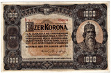 1000 KORONA 1920 UNA MIE COROANE ( verso) UNC Ungaria  RARA URIASA 125 x 192 mm