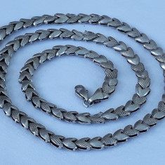 COLIER argint INIMIOARE inlantuite SPLENDID superb VECHI vintage DE EFECT rar