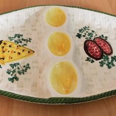 Platou pentru oua / compartimentat - decorativ - ceramica  - Italia - 3 oua