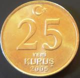 Moneda 25 YENI KURUS - TURCIA, anul 2005   *cod 2784  --- UNC